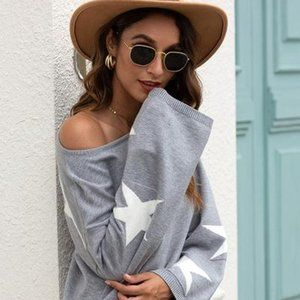 Cozy Stars Print Sweater Top